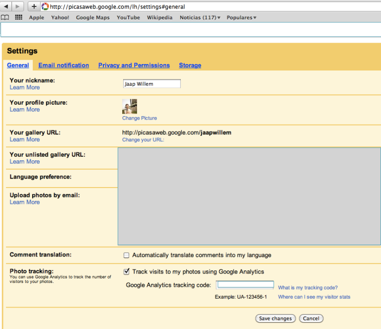 Picasa Web Photo Tracking within Google Analytics